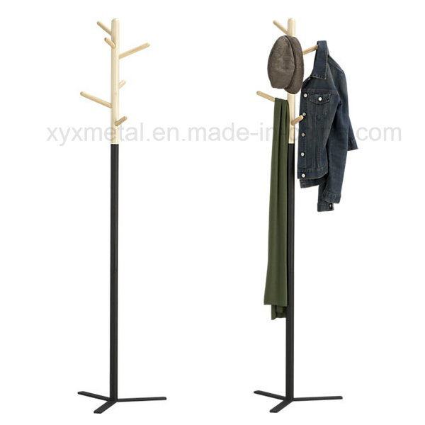Fashion Modern Style Metal Steel Base Wooden Hanger Hat Coat Rack