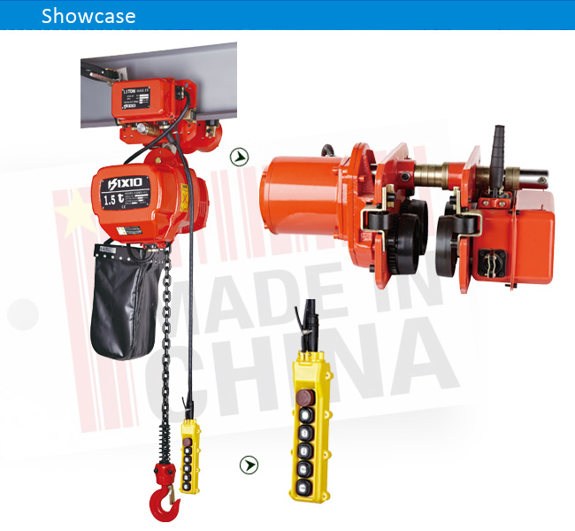 1.5 Ton Gear Motor Electric Chain Hoist with Hook