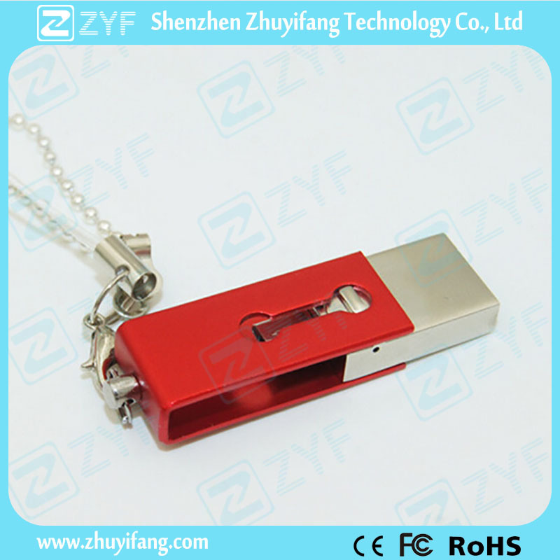 Innovative Design Slide Twist Metal 16GB OTG USB Drive (ZYF1606)