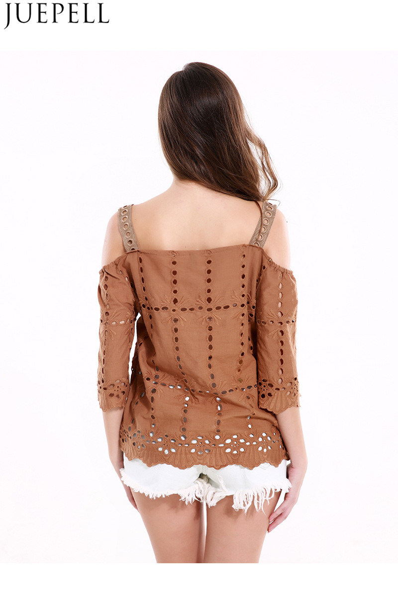 Europe Station Summer Women New Retro Hollow Three-Dimensional Decorative Harness Small Shirt Strapless Short-Sleeved T-Shirt Blouse