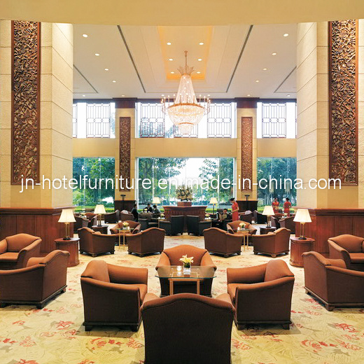 Wooden Fabric Upholstered Hotel Lobby Sofa