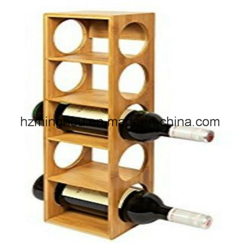 Wine Rack Stand Holder Bamboo Stackable Wall Mount Free Standing Bottles Display