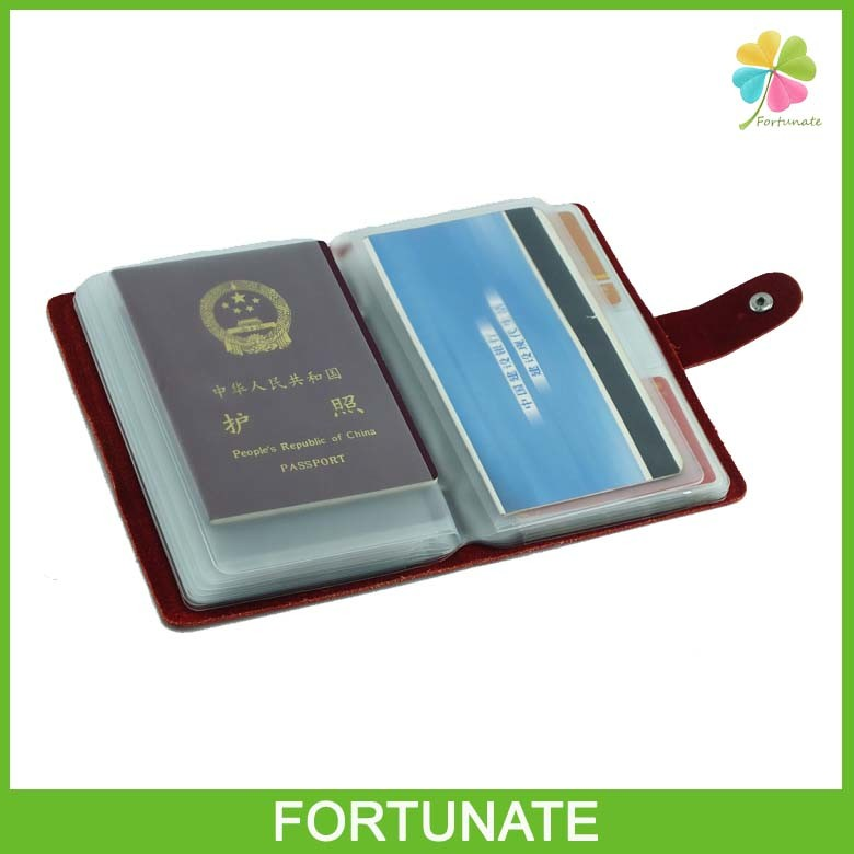 Insurance PVC Plastic Lottery Ticket Holder with Leather Cover