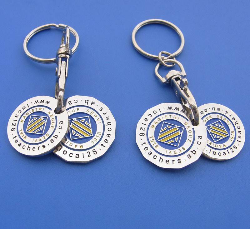 Customized Double Coins Metal Trolley Coins