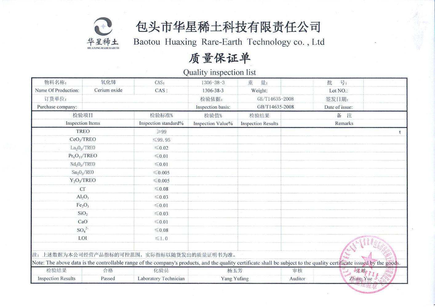 CNAS Pass White Powder Cerium Oxide Ceriumdioxide Ceria 2