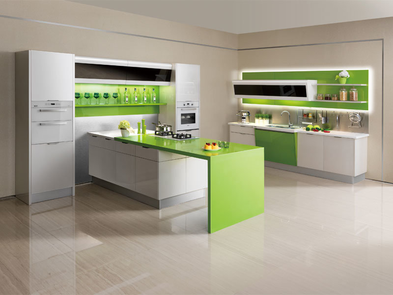 china eco friendly green paint and acrylic kitchen cabinet