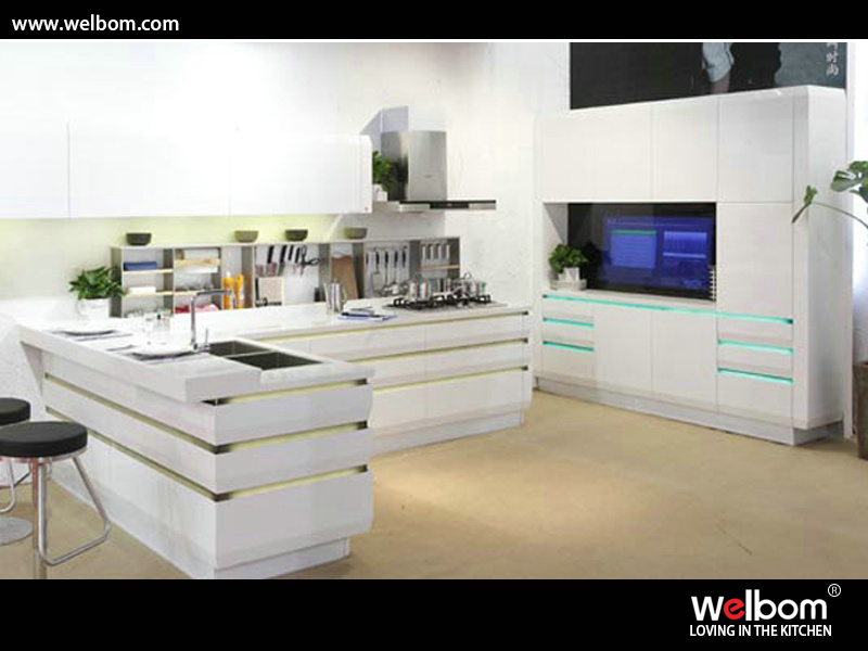 China Iso Hangzhou Welbom Hot Sale Modern White High Gross Kitchen Design Photos Pictures