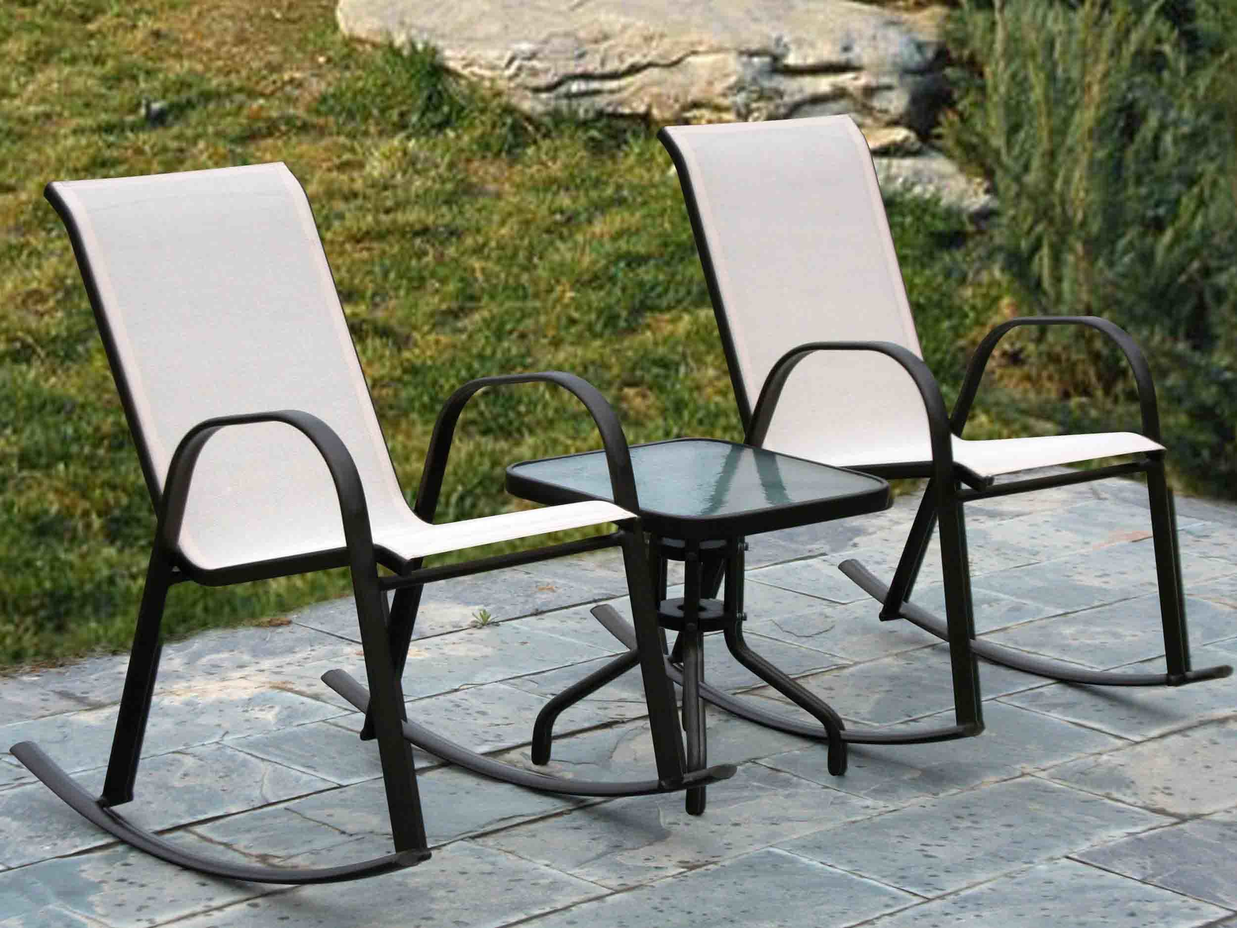 China garden rocker textilene chairs without cushion for Y h furniture trading