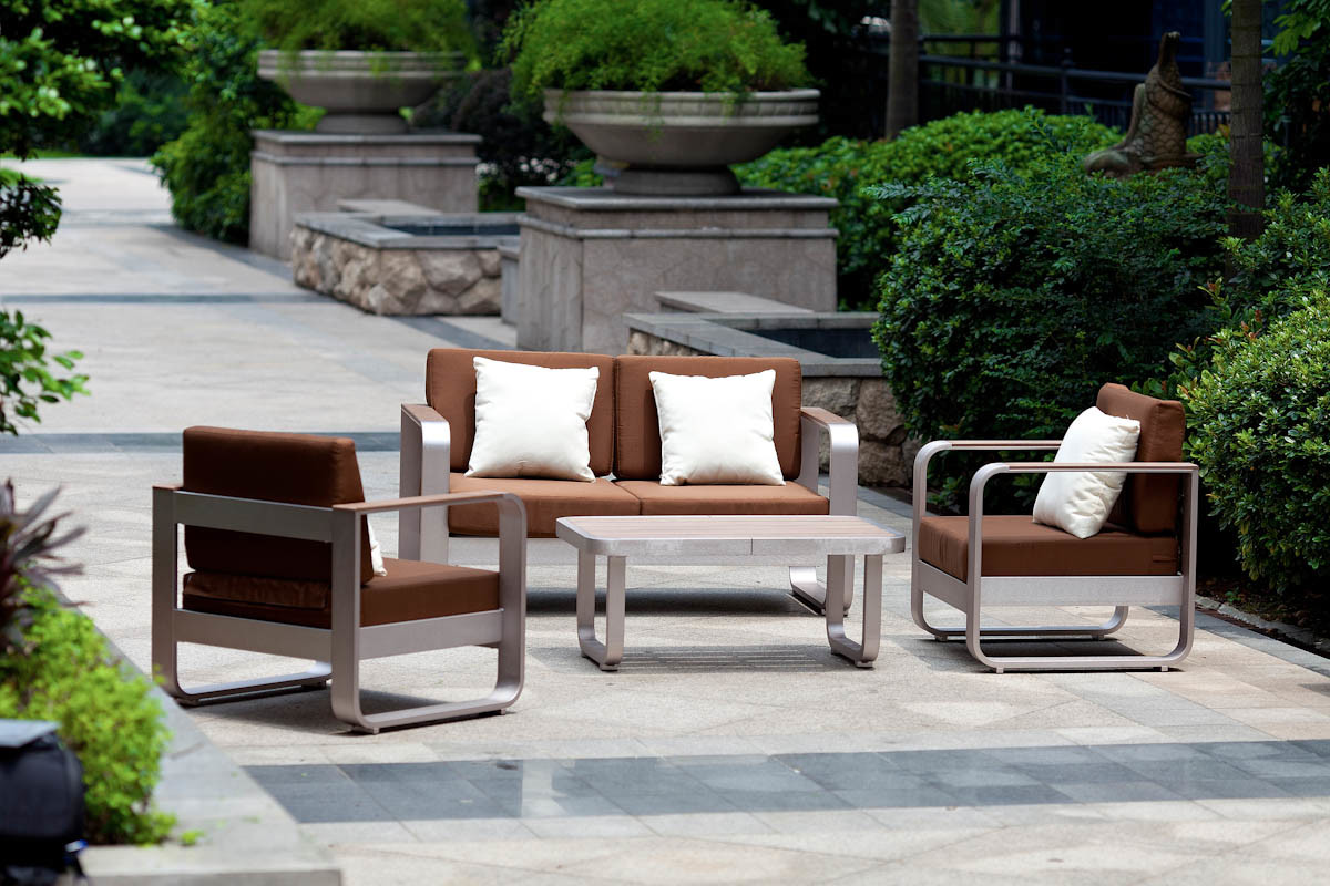 Patio Brushed Aluminum Polywood Furniture/ Garden Aluminum Sofa Set (BZ-BR014)