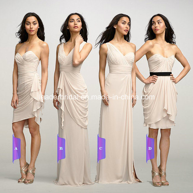China beige chiffon strapless short and long bridesmaid for Beige short wedding dresses