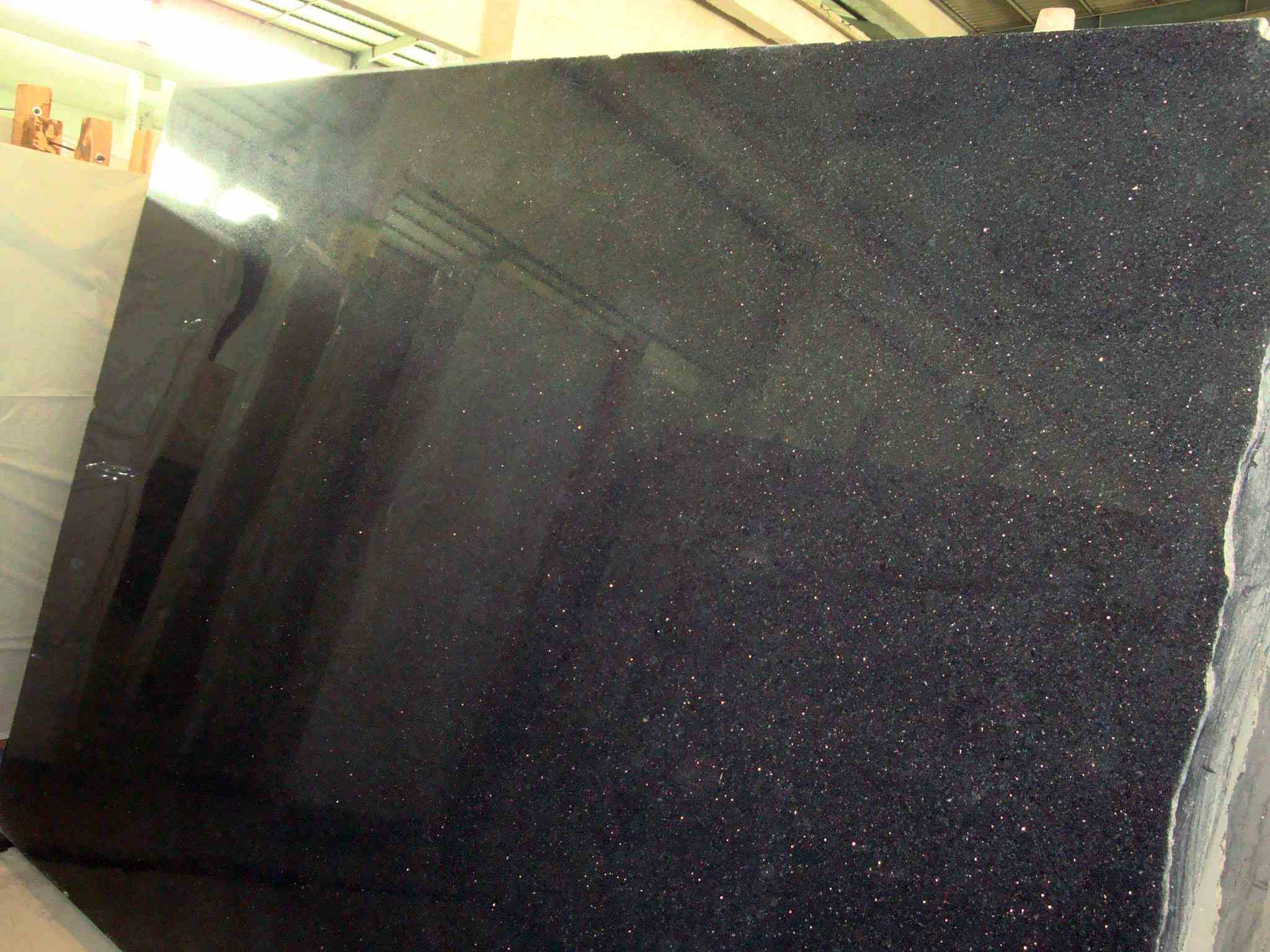 Black Granite Slabs : China black galaxy granite slab half