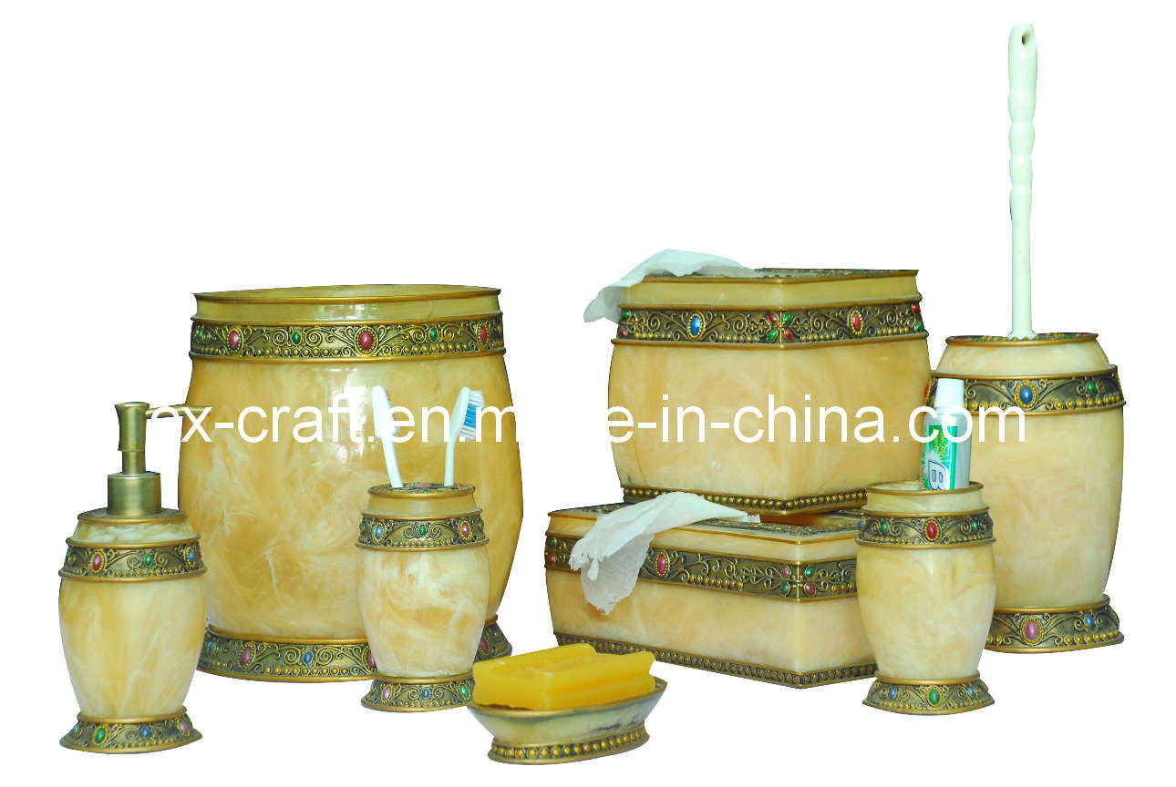 China Polyresin Bathroom Accessory Set Resin Bathroom Accessory Set