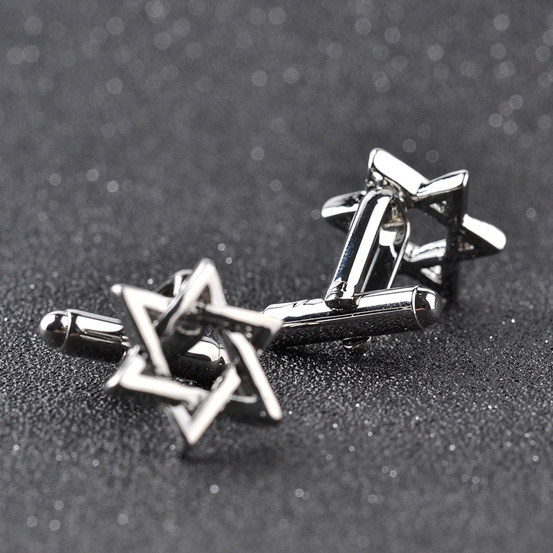 New Silver Zinc Alloy Star of David Men′s Cuff Links Business Gift Cufflinks