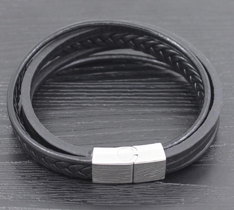 Stainless Steel Bracelet Pure Leather Jewelry Male Bracelet