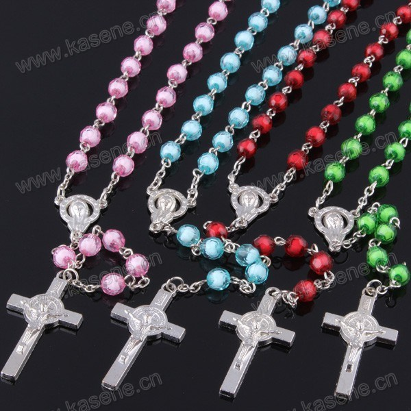 Colourful Plastic Religious Rosary Necklace, 59 Beads Rosaries