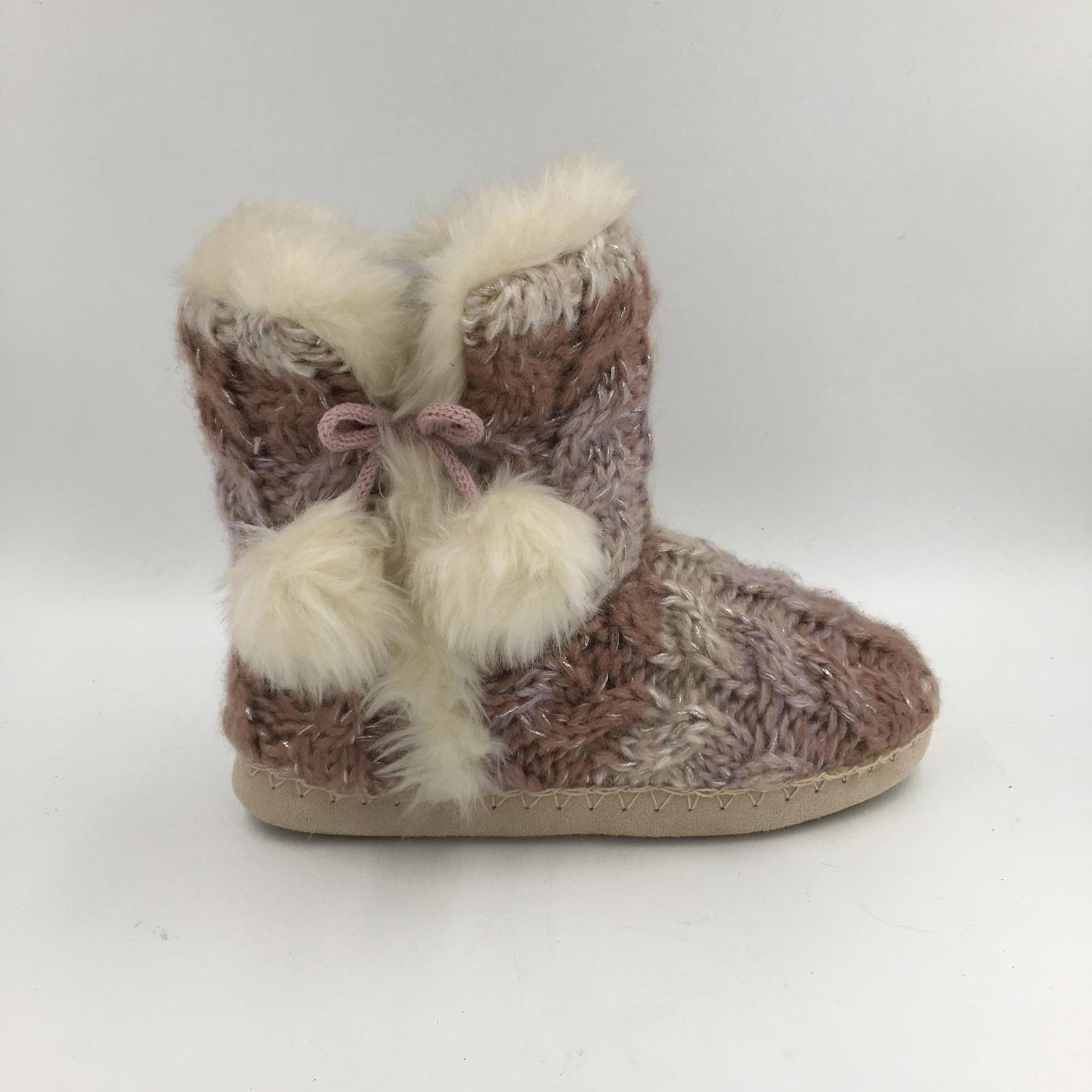 Multi Colour with Pompom Knit Indoor Boots for Lds