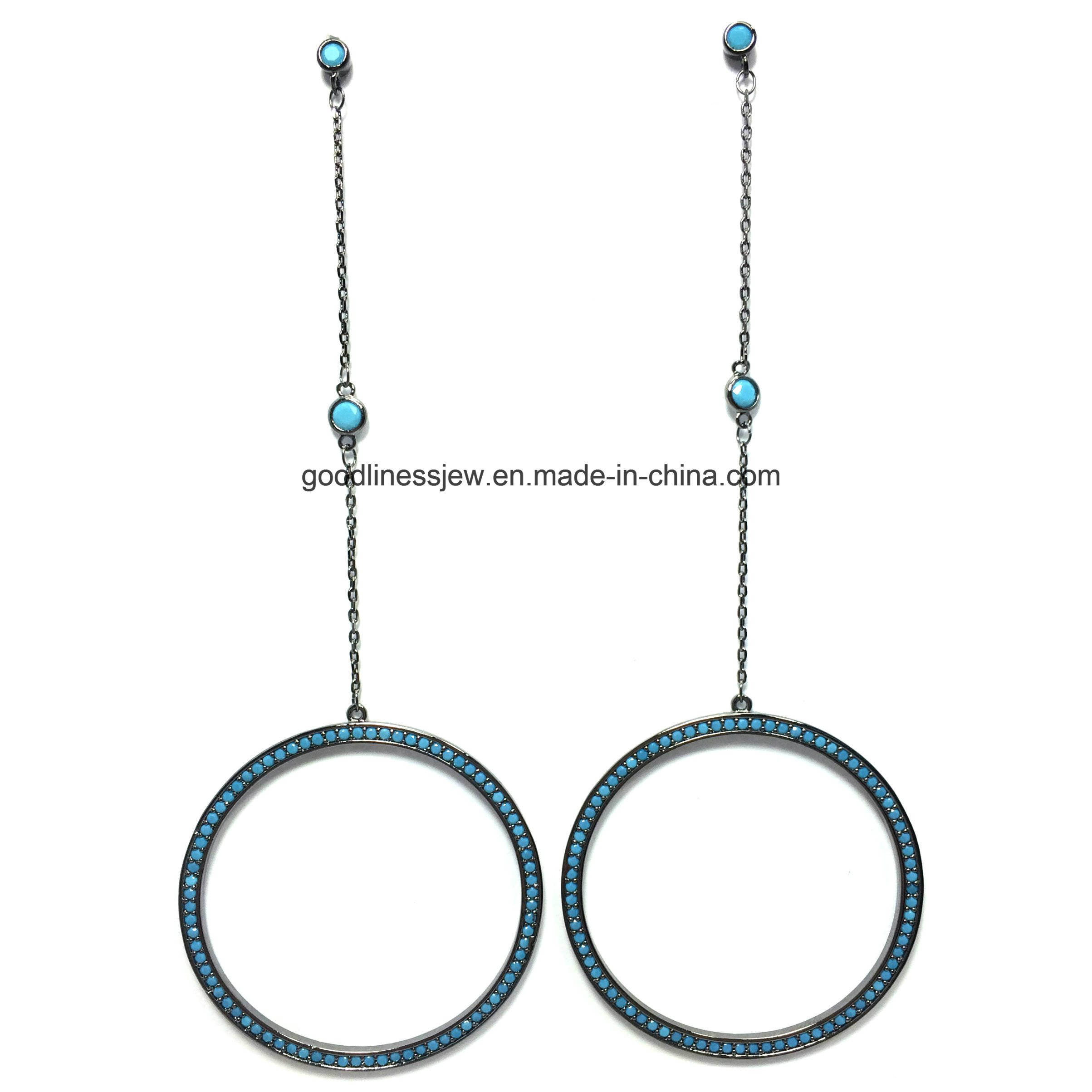 925 Silver Drop Earring with Heart Shape for Erurope (E9612)