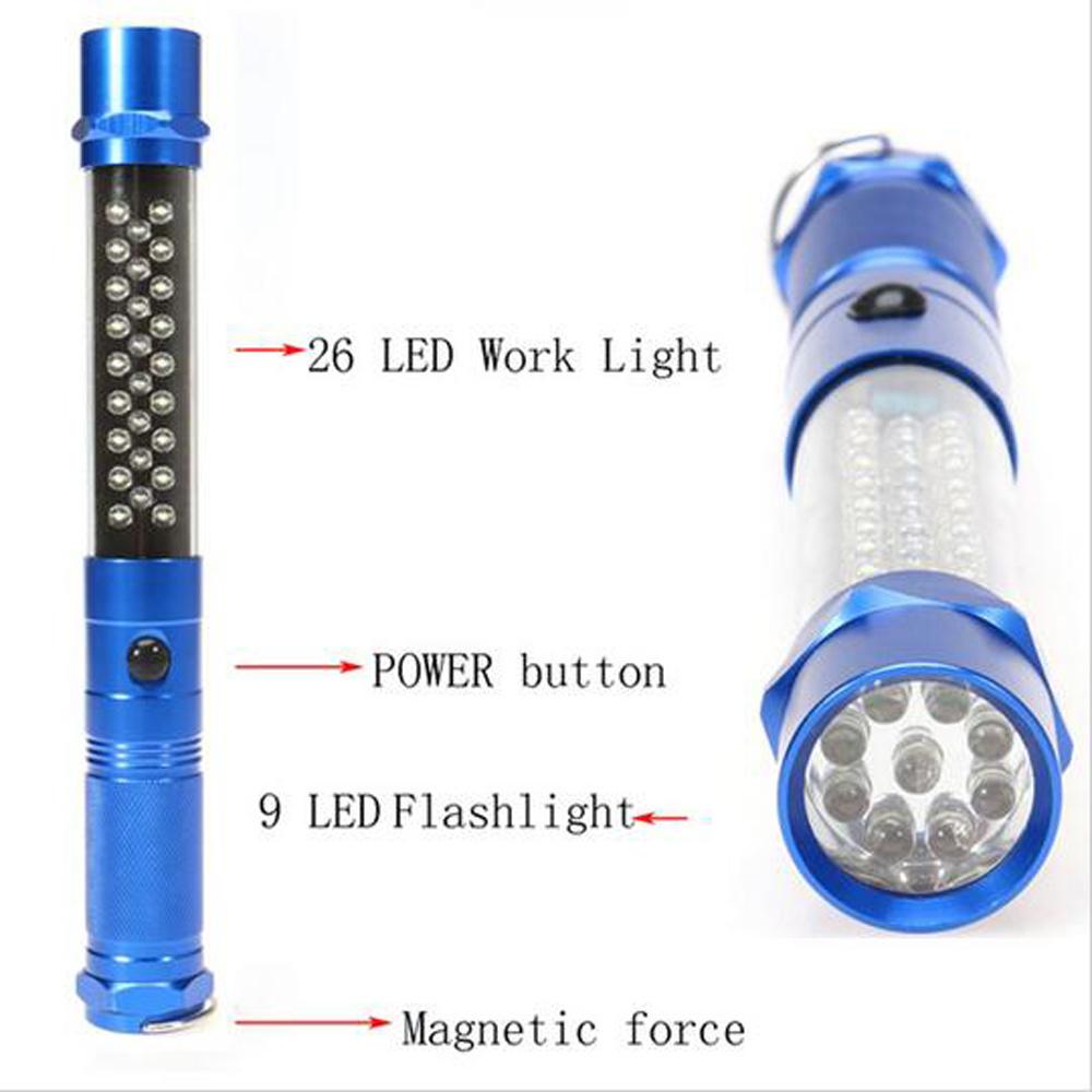 26+9 LED Flashlight Hook Magnetic Car Maintenance Camping Light