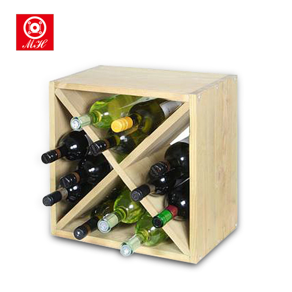 Customized 4 Latticed 12 Bottle Wooden Wine Rack for Sale