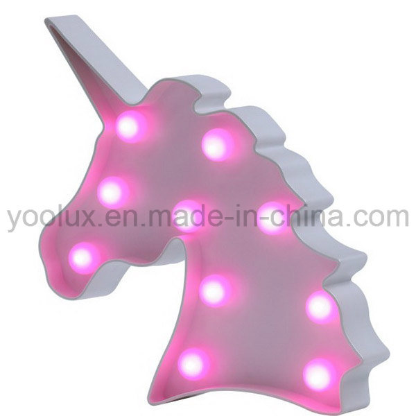 Battery Operated Unicorn Shape 3D LED Symble Vintage Gift Home Decoration Marguee Lights