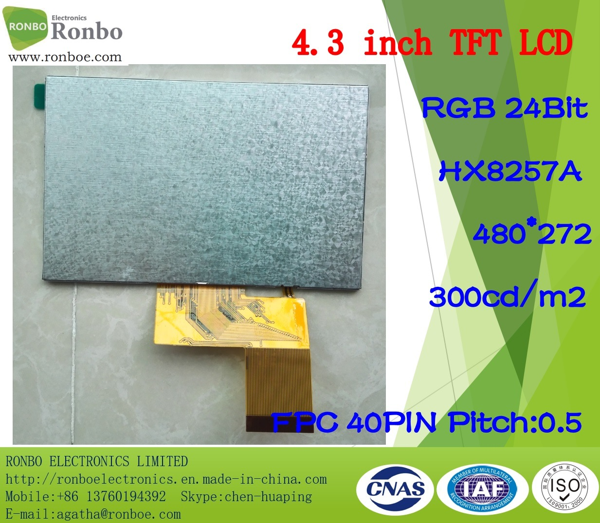 "4.3"" 480X272 RGB 40pin TFT LCD Touch Screen Display"