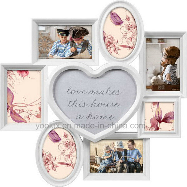 Plastic Multi Openning Home Decoration Heart Wall Photo Frame