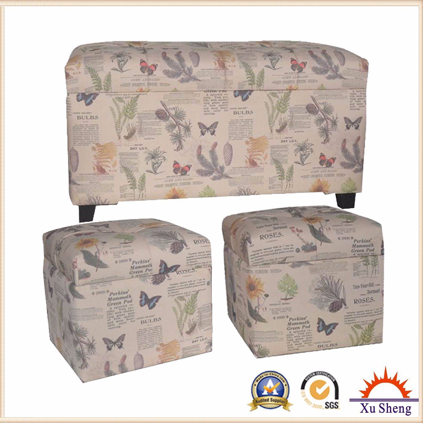Modern Furniture Spring Fabric Print Tufted Wooden Storage Ottoman Chest Trunk