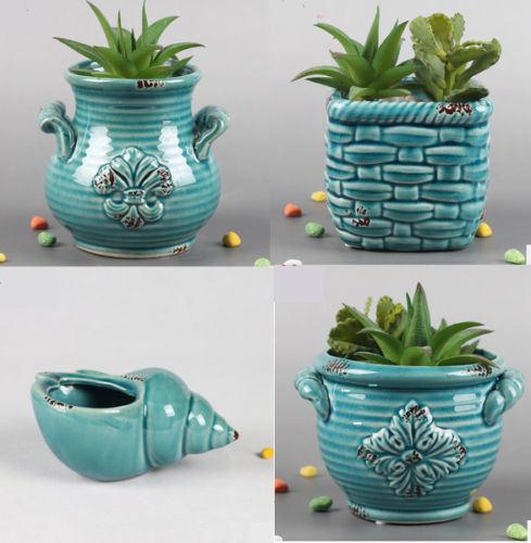 Ceramic Planter Pot Indoor Outdoor Succulent Herb Flower Decor