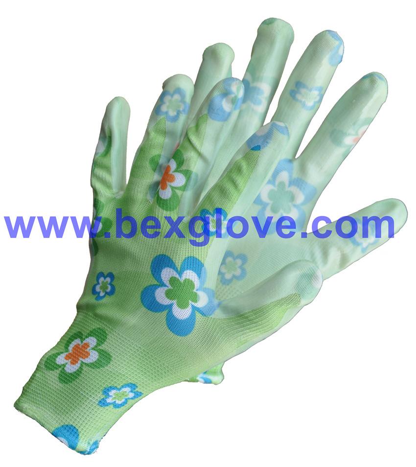 Nitrile Coating, Transparent, 13 Gauge Polyester Liner, Flora Patterns Safety Gloves