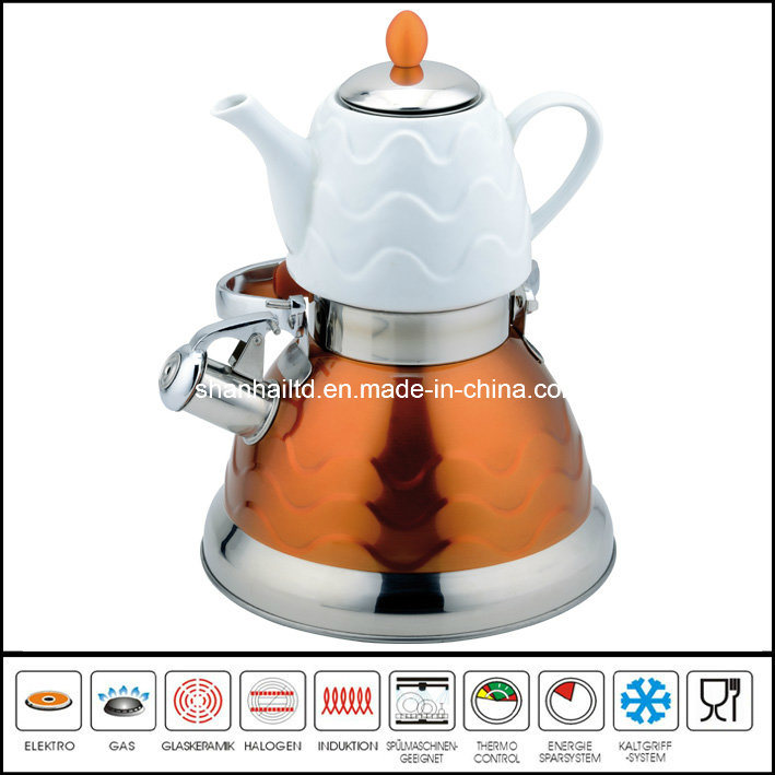3L+0.75L Double Water Pot with Ceramic Teapot