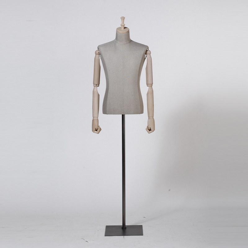 Linen Wrapped Half Body Male Mannequin for Window Display