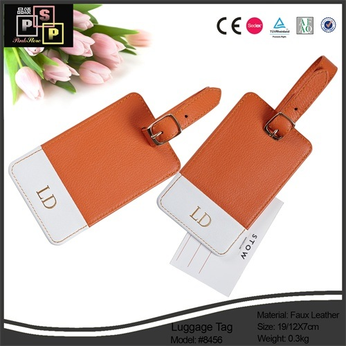 China Supplier New Design Cheep Nice Custom Mini PU Leather Luggage Tag (1481)