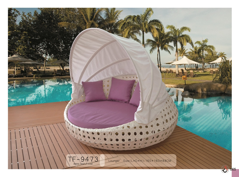 Outdoor Rattan Big Round Chaise Lounge Sofa with Canopy