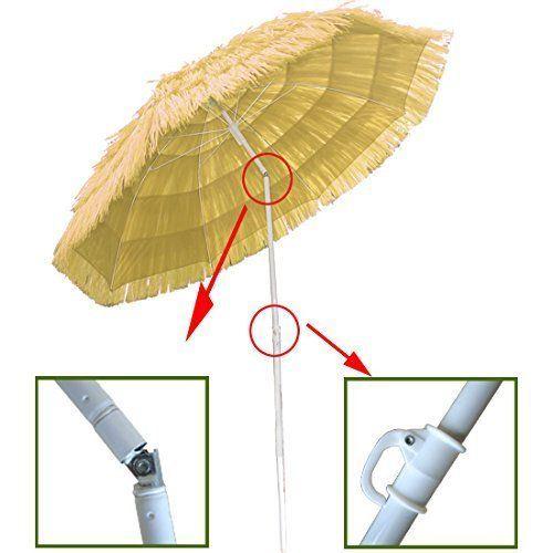 Beach Umbrella, Hawaiian Parasol Beach Umbrella Sun Shade Patio with Tilt Function New