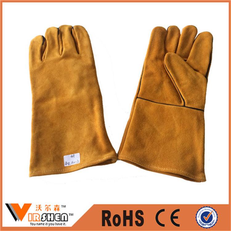 Heat Resistant Cow Split Welding Industrial Leather Gloves