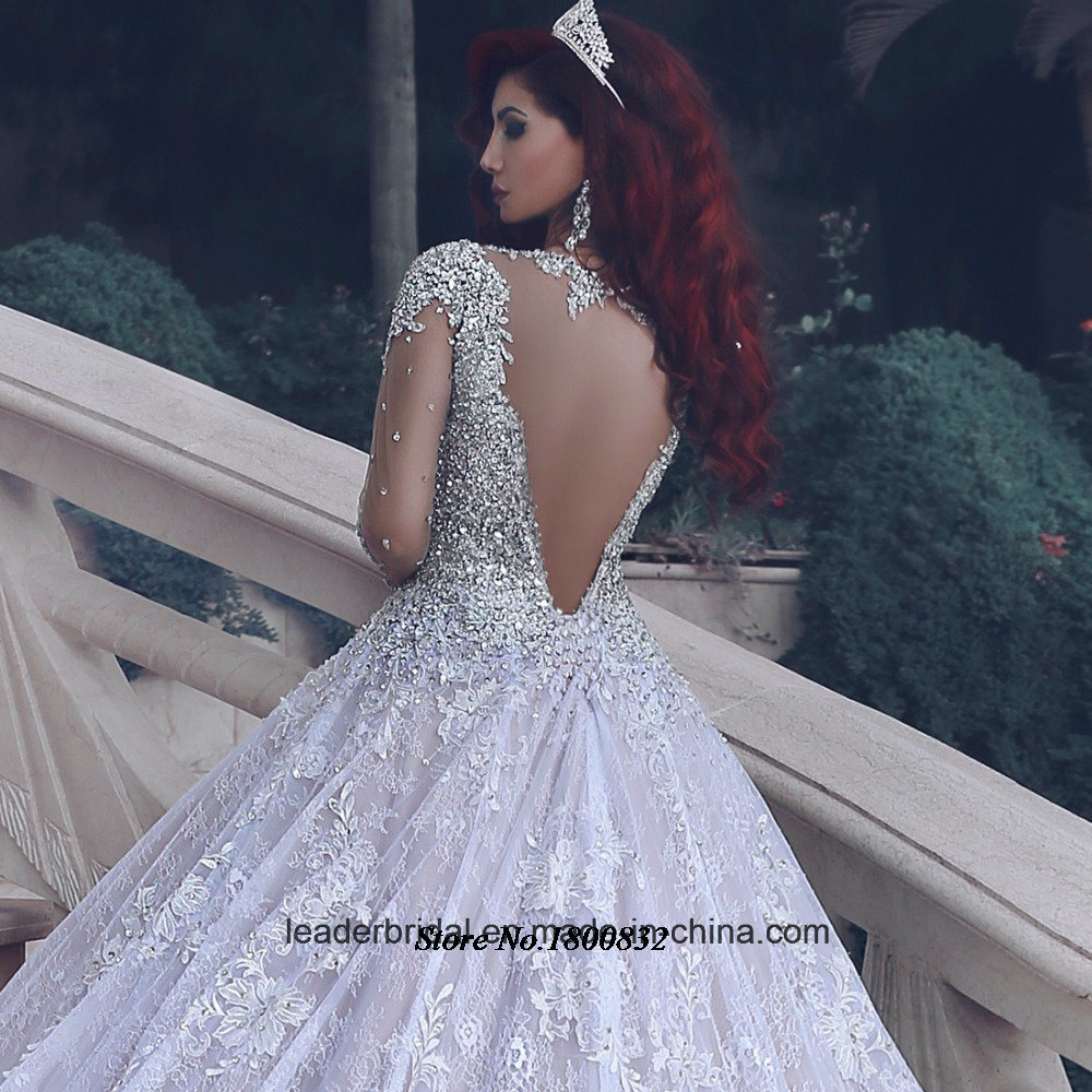 Long Sleeves Bridal Ball Gowns Crystals Wedding Dress 2017 M2889