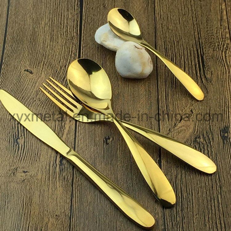 Gold Plated Stainless Steel Dinnerware Tableware Cutlery Flatware Sets