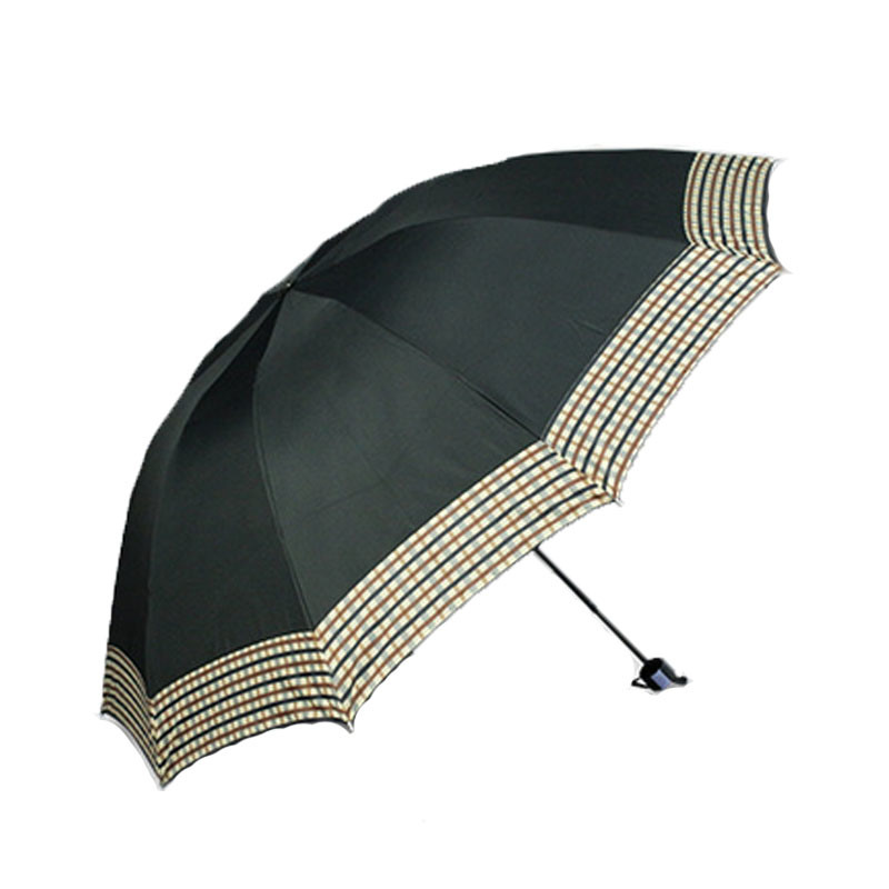 Windproof Strong Coating Black Umbrella 3 Folding