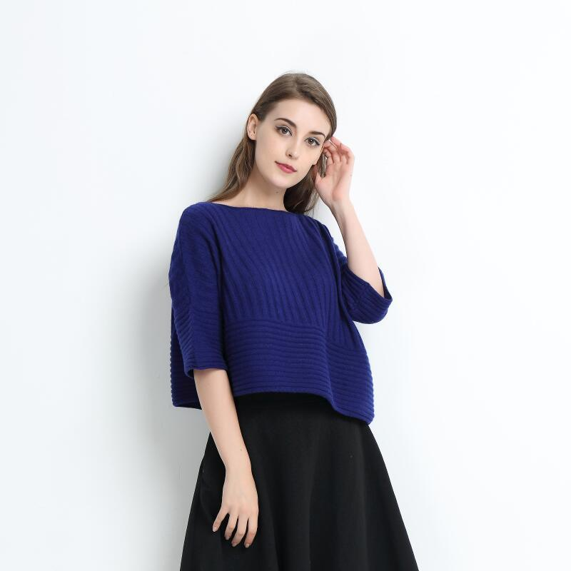 Women Blue Color Large Size Pure Cashmere Apprael