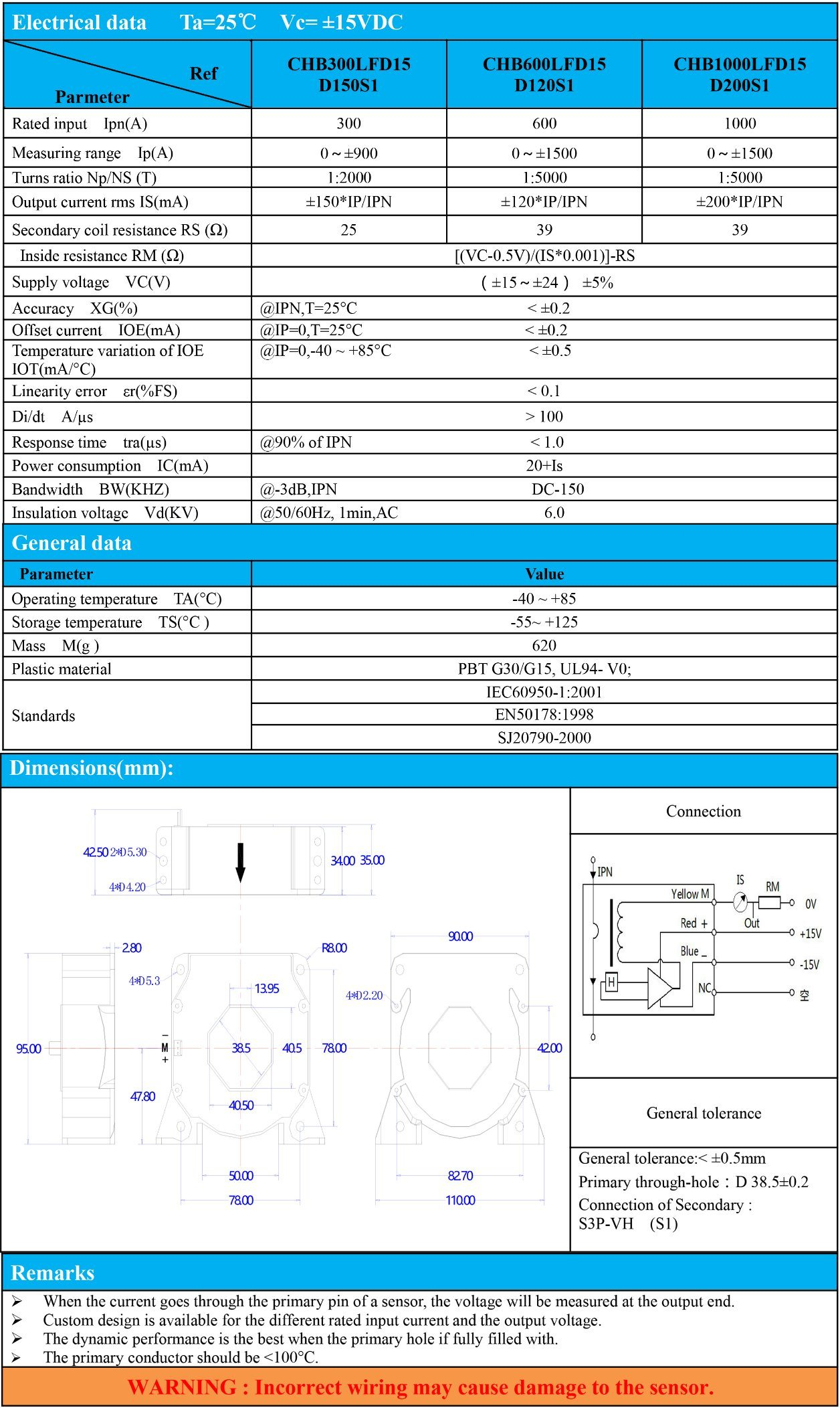 Current Transducer Hall Effect Current Sensor for PV Inverter Detection