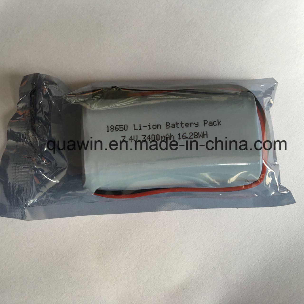2s1p 7.4V 3400mAh Panasonic Cell 18650 Lithium-Ion Battery Pack