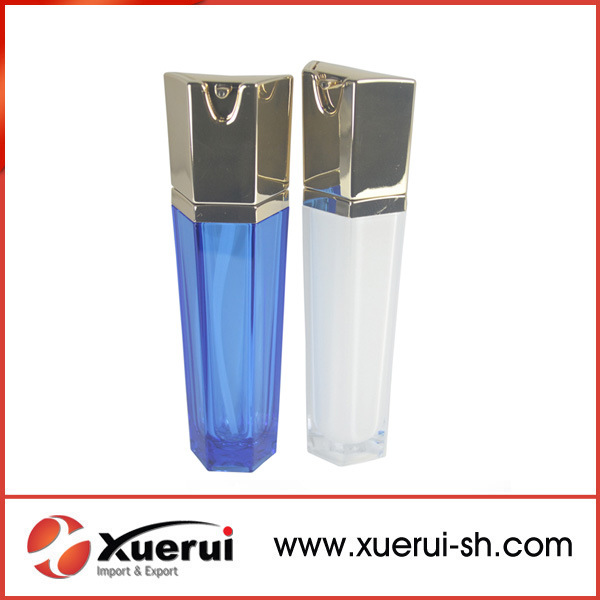 Cosmetic Hexagon Acrylic Lotion Bottle with Pump