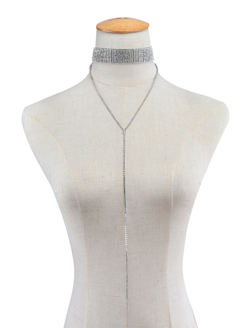 Fashion Women Full Crystal Rhinestones Choker Necklace Tassel Chain Collar Gothic Punk Jewelry