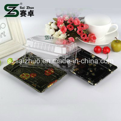 Floral Printed Top Grade Disposable Plastic Sushi Box (S09)