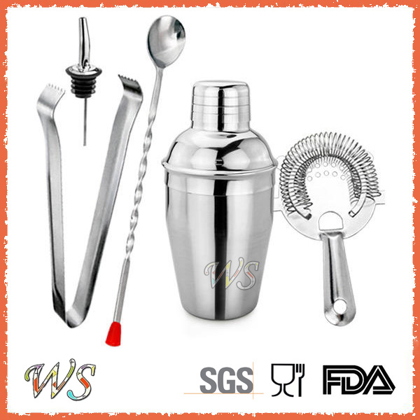 Ws-C01 Custom Logo 5-Pieces 350ml Stainless Steel Cocktail Shaker Bar Set
