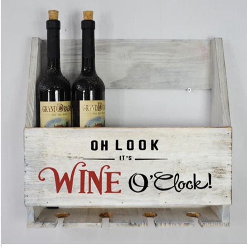 Wooden Wall Mounted Wine Bottle & Glasses Storage Holder Vintage Home Bar Rack