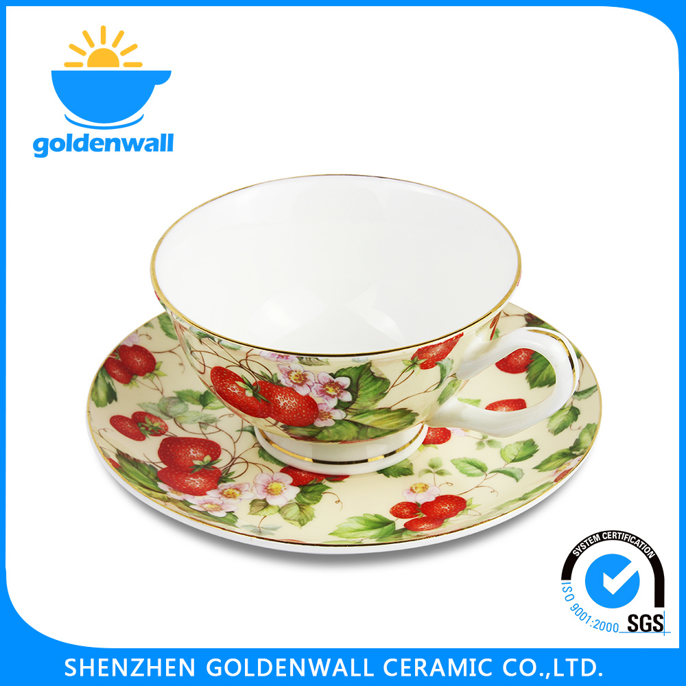 Simple Style 250ml/5.75′′ Fine Bone China Coffee Cup with Saucer