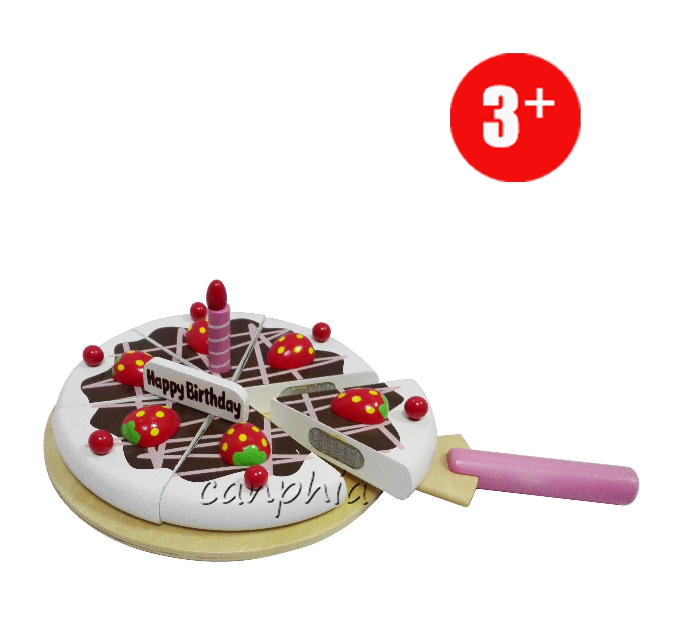 Wooden Children Pretend Play Food Set Kitchen Toy for Girls Kids Gift Birthday Cake
