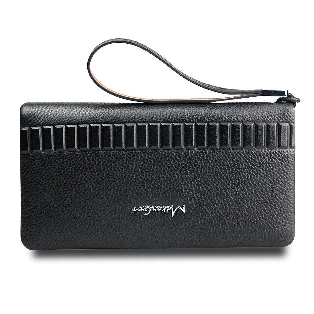 Men Wallet Genuine Leather Cowhide Wristlet Envelope Clutch Bag