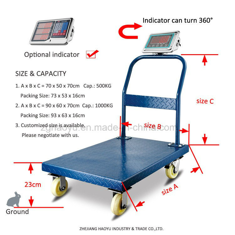 Digital New Design 500kg Hand-Push Weighing Scale with Wheels